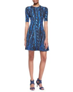 Womens Distortion Print A Line Dress   Kenzo   Cobal (MEDIUM)