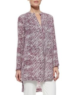 Womens Long Sleeve Printed Cashmere Silk Tunic   Derek Lam   White/Magenta (44)