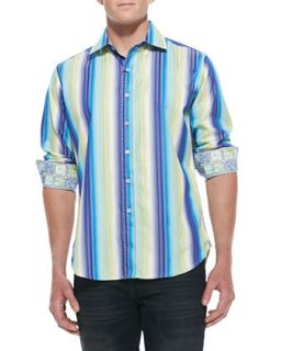 Mens Como Striped Sport Shirt, Blue   Robert Graham   Blue (XL)