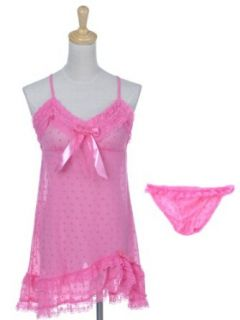 Anna Kaci S/M Fit Barbie Bubblegum Pink Spotted Heart Print Negligee Panty Set at  Women�s Clothing store: Lingerie Sets