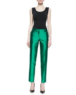 Womens Samantha Slim Shantung Pants, Emerald   Michael Kors   Emerald (2)