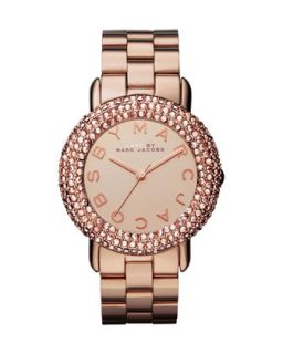 Marci Pave Crystal Rose Golden Analog Watch   MARC by Marc Jacobs   Rose gold