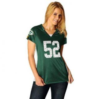 NFL Womens Green Bay Packers Clay Matthews Draft Him Ii Dk Green/White/Yellow Gold Short Sleeve Raglan V Neck Tee (Dk Green/White/Yellow Gold, X Large)  Sports Fan T Shirts  Clothing