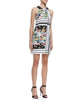 Womens Halter Floral Print Tent Dress, Multicolor   Ali Ro   Black/White multi