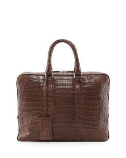 Mens Crocodile Compartment Skinny Briefcase, Chocolate   Santiago Gonzalez