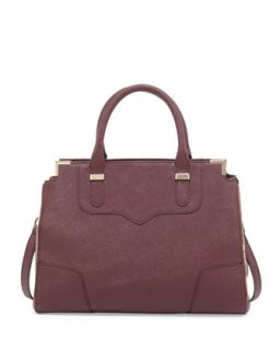 Amorous Saffiano Satchel Bag, Black Cherry   Rebecca Minkoff