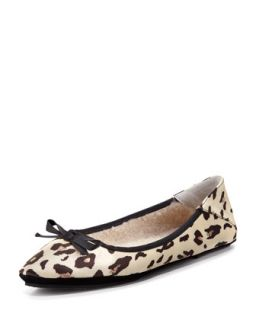 Inslee Bow Faux Shearling Slipper, Leopard   Jacques Levine   Brown/Blk leopard