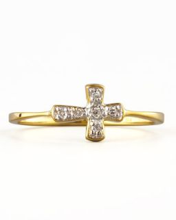 Diamond Cross Stacking Ring, Yellow Gold   KC Designs   Gold (6)