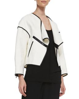 Womens Faux Leather Trim Open Jacket   10 Crosby Derek Lam   Cream (8)