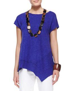 Womens Cap Sleeve Linen Asymmetric Top, Blue Violet, Petite   Eileen Fisher