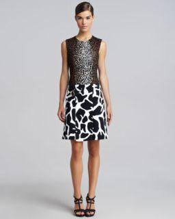 Womens Mixed Print Combo Dress   Derek Lam   Camel/Black (44)