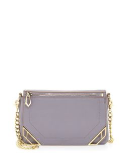 Linea Zip Deco Leather Crossbody Bag, Lavender   Botkier