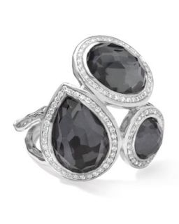 Stella Ring in Hematite Doublets with Diamonds, 0.41   Ippolita   Silver (8)