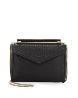 Golden Plated Envelope Crossbody Bag, Black   Violet Ray