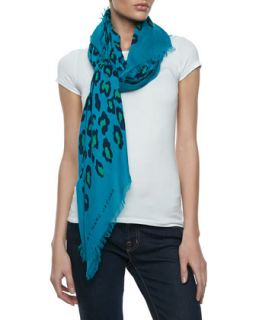 Sasha Leopard Print Scarf, Teal   MARC by Marc Jacobs   Teal
