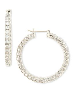 Large Cubic Zirconia Hoop Earrings, 3.2 TCW   Fantasia by DeSerio   Clear