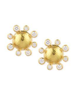 Diamond Detailed 19k Gold Dome Earrings   Elizabeth Locke   Gold (19k )