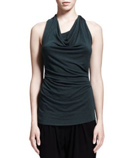 Womens Nova Cowl Neck Jersey Top   HELMUT Helmut Lang   Eucalyptus (MEDIUM)