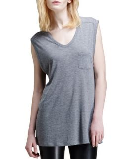 Womens Jersey Pocket Muscle Tee   T by Alexander Wang   Heather grey (SMALL/4