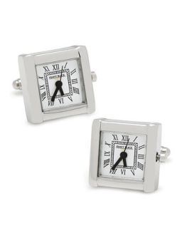 Mens Square Watch Movement Cuff Links, Silver   Cufflinks   Silver