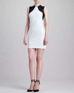 Womens Lace Shoulder Sleeveless Sheath Dress, White/Black   Emilio Pucci