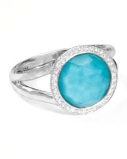 Stella Mini Lollipop Ring in Turquoise Doublet with Diamonds, 0.15   Ippolita