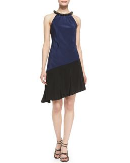 Womens Halter Beaded Neck Colorblock Dress, Royal Navy/Black   Ali Ro   Royal