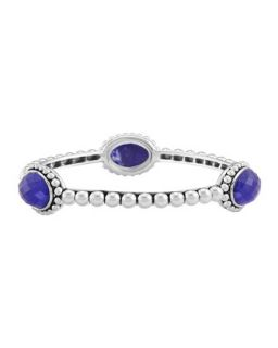 Silver Beaded Maya Lapis Medium Bangle   Lagos   Silver (MEDIUM)