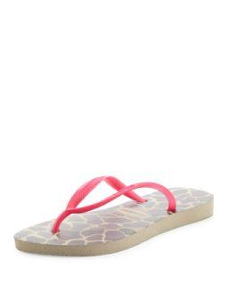 Slim Giraffe Print Flip Flop, Sand Gray/Pink   Havaianas   Tan (41/42)