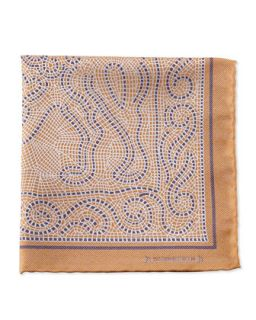 Mens Mosaic Pocket Square, Gold   Massimo Bizzocchi   Gold