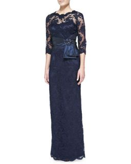 Womens 3/4 Sleeve Lace Overlay Gown, Champagne   Rickie Freeman for Teri Jon