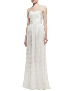 Womens Strapless Burnout Floral Pattern Gown, Ivory   Erin by Erin Fetherston