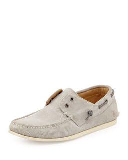 Mens Schooner Suede Boat Shoe, Stone   John Varvatos   (8 1/2)