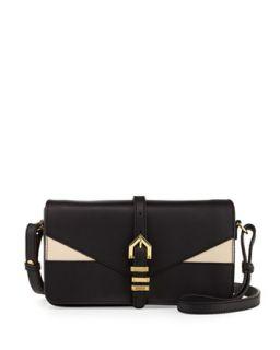 Hayden Colorblocked Leather Clutch Bag, Black/Nude   Linea Pelle
