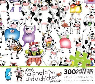 One Hundred cows and a chicken 300 Oversized Piece Puzzle by WHITLARK MADE IN USA PUZZLE: Toys & Games