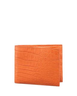 Mens Crocodile Wallet, Orange   Santiago Gonzalez   Orange