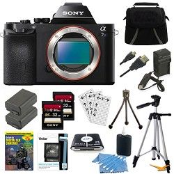 Sony ILCE 7S/B a7S Full Frame Camera w/ 2 32GB SDHC Cards & 2 Batteries Bundle