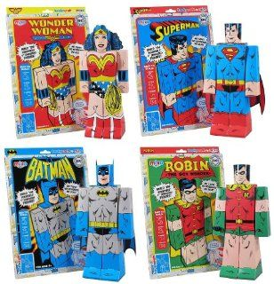 "Set of 4 Kookycraft 9"" Paper DC Comics Superheroes (Superman, Wonder Woman, Batman, Robin) by Mixo: Toys & Games"