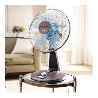 Rowenta VU2531 Turbo Silence 4 Speed Oscillating Desk Fan, 12 Inch, Bronze   Electric Household Tabletop Fans