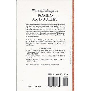 Romeo and Juliet (Dover Thrift Editions): William Shakespeare: 9780486275574: Books