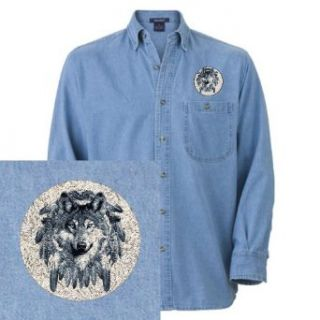 Artsmith, Inc. Denim Embroidered Shirt Wolf Dreamcatcher: Clothing