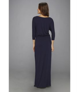 Christin Michaels Clara Cinched Tie Waist Maxi Dress Navy