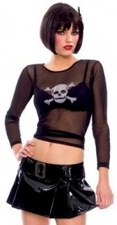 ToBeInStyle Women's Gothic Long Sleeve Crossbone Punk Costume w/ Skirt & Accessories Adult Sized Costumes Clothing
