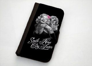 "Marilyn Monroe And Her Ghost ""Smile Now, Cry Later"" Samsung Galaxy S3 Leather Wallet Case By Case Envy: Cell Phones & Accessories"