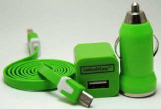 CablesFrLess 3 in 1 Green 3ft Tangle Free Flat Noodle Micro USB Charging Kit fits Android Samsung Galaxy S3 Siii S4 S 4 active Galaxy Tab Reverb Note 2 Pantech HTC One LG Optimus Motorola RAZR MAXX HD Kindle Kindle Store