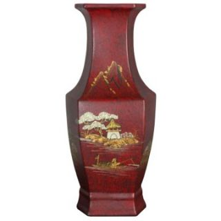 Oriental Unlimited 14H in. Red Hexagonal Porcelain Vase   Table Vases