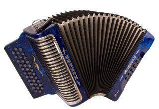 Hohner Corona Xtreme II 34 Button Accordion, GCF, Pearl Blue: Musical Instruments