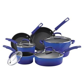 Rachael Ray Porcelain Enamel II 10 Piece Cookware Set   Two Tone Blue   Cookware Sets