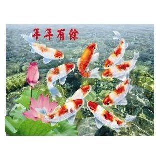 """3D Image Greeting Poster of Plastic Hard Cardboard """"Gold Fish Means Good Luck and Good Health"""" for Feng Shui Purpose Home, Office, Business Measure 15 5/8"""" (L) x 11 5/8"""" (H) x 1/32"""" (W)  Prints"""