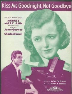 Kiss Me Goodnight Not Goodbye Merely Mary Ann Janet Gaynor movie music 1931: Entertainment Collectibles